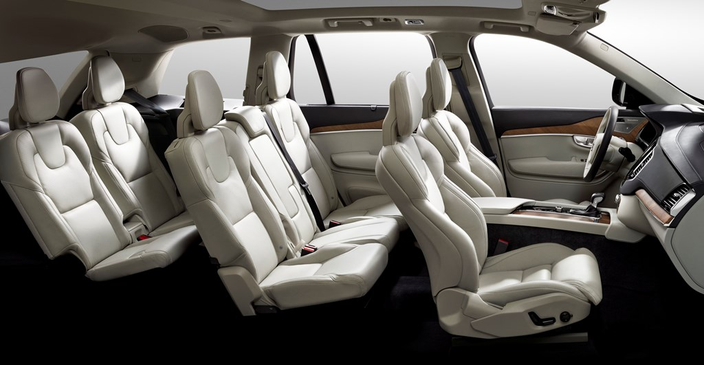 2015 Volvo XC90 interior side view, 7 seven seats, third row seats