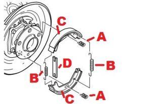 rear parking brake shoes diagram
